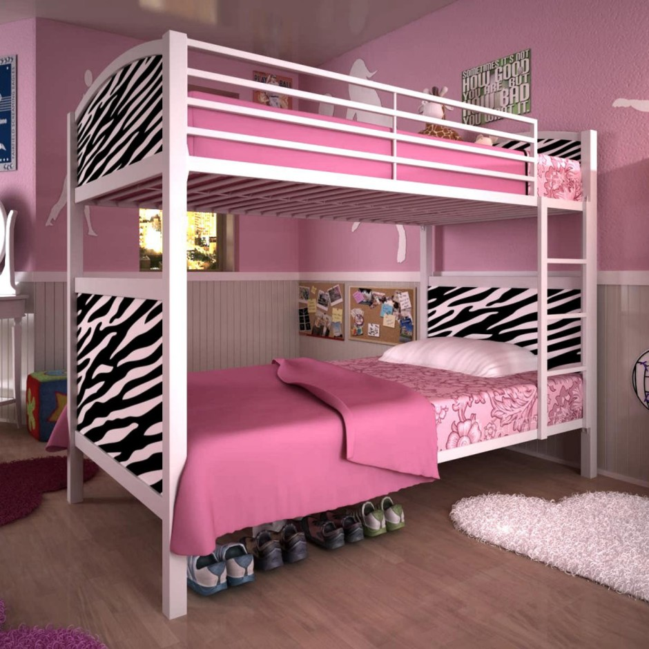 Image of: pink kids girl bunk beds