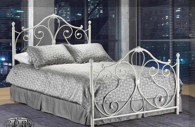 Image of: white twin metal bed frame