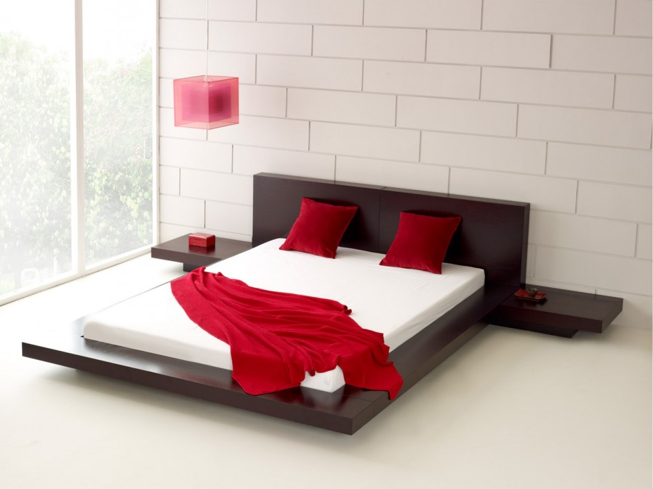 Image of: Low Profile Bed Frame Wood
