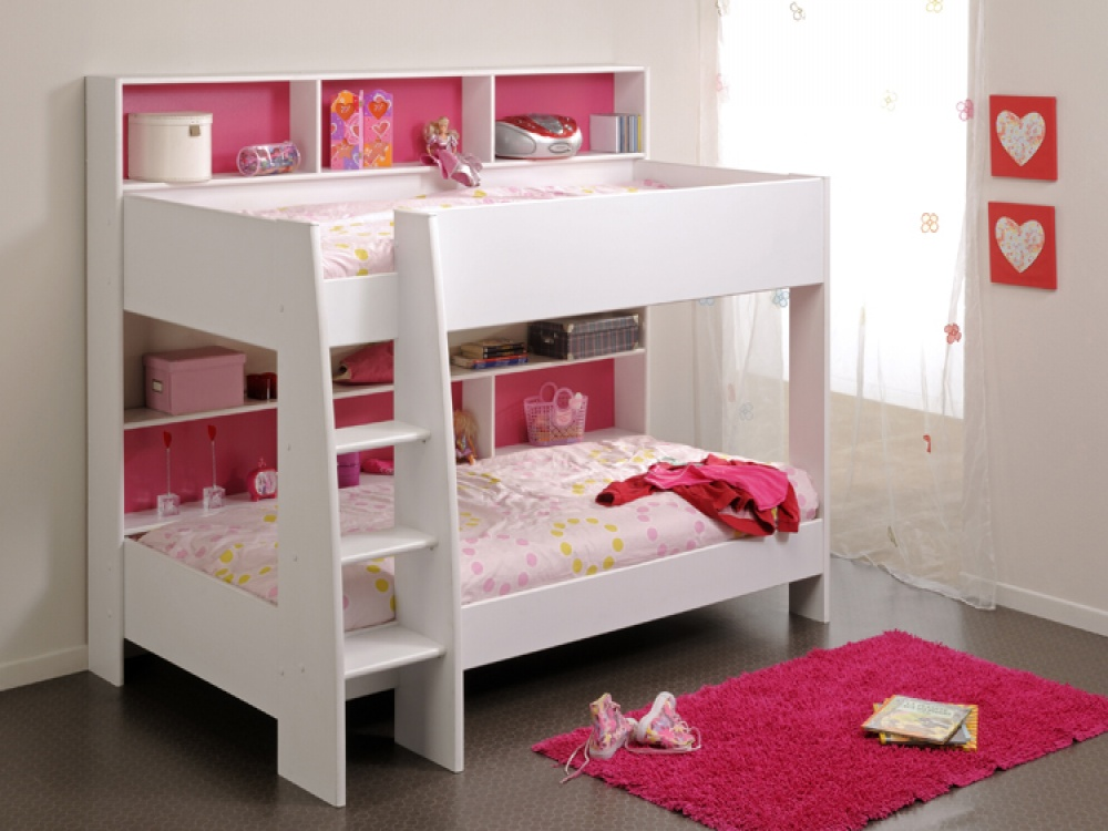 Image of: Pink and White Bunk Beds