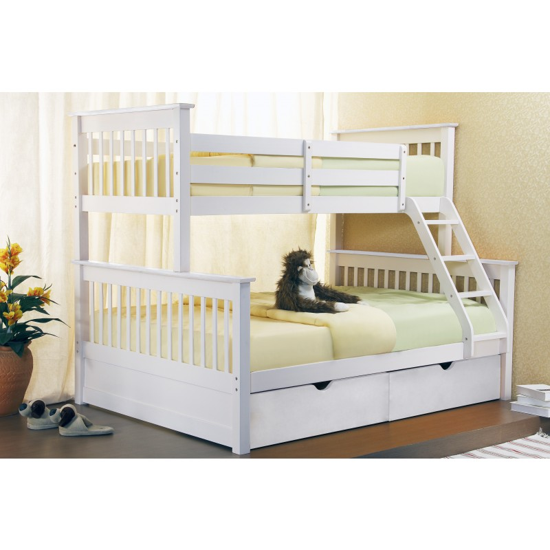 Image of: White Bunk Beds Three Sleeper