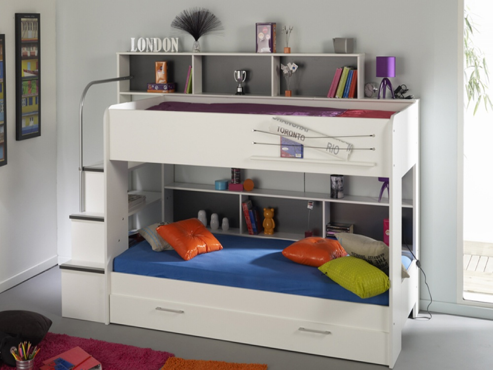 Image of: White Bunk Beds with Guest Bed