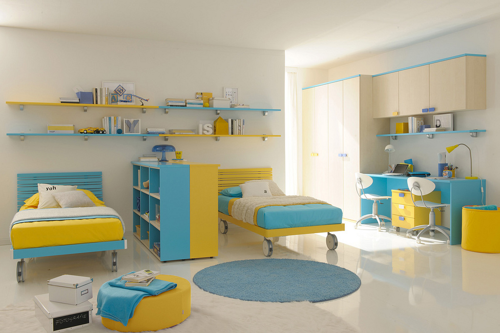 Image of: yellow twin bedroom furniture sets