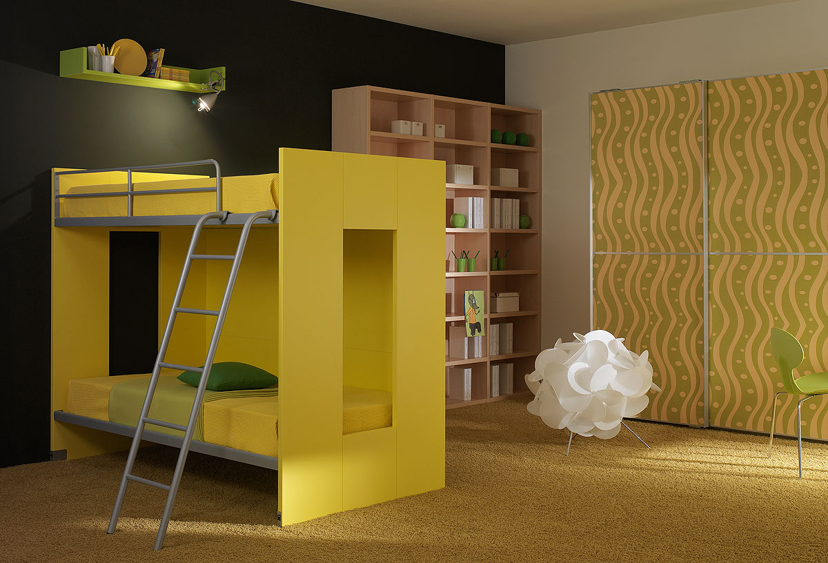 Yellow Contemporary Bunk Beds