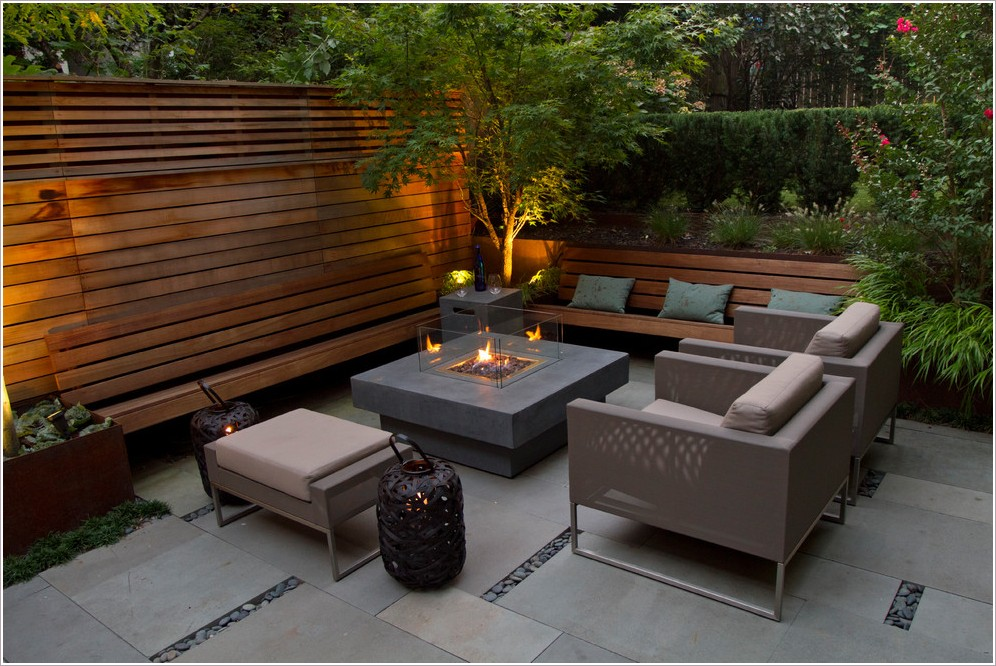 Image of: Modern Patio Furniture with Fire Pit