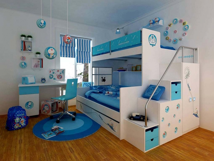 Image of: Blue Loft Beds for Teens