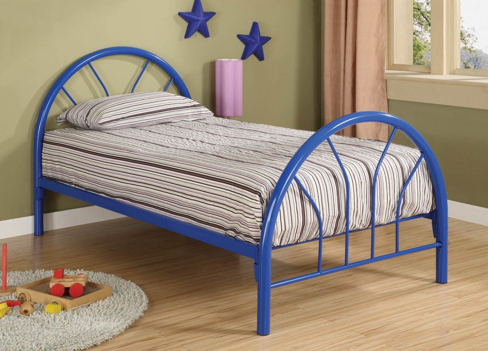 Image of: Blue Metal Bed Frame Twin