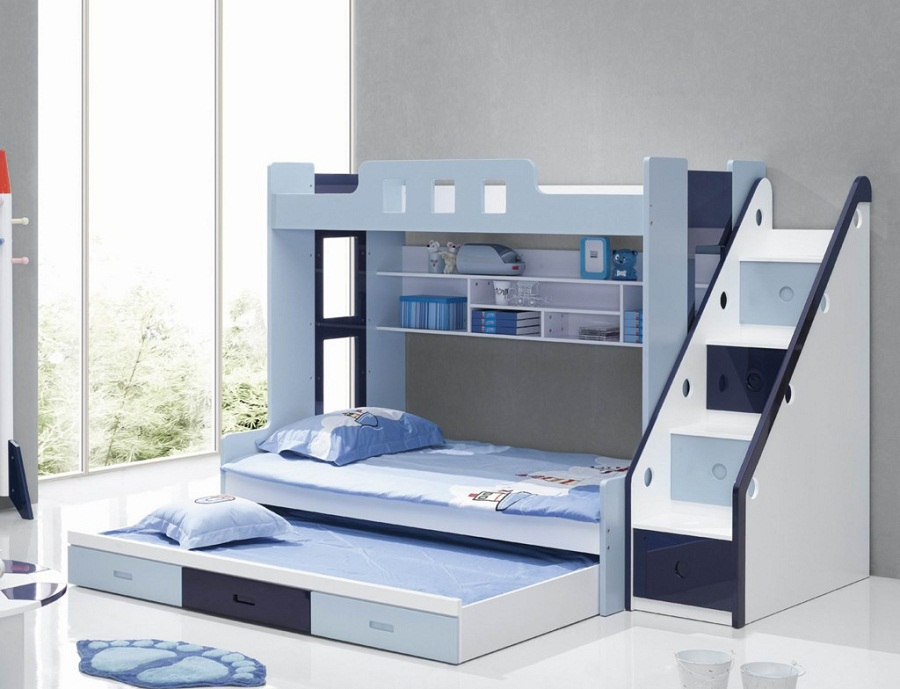 Image of: Blue Wooden Loft Beds for Teens