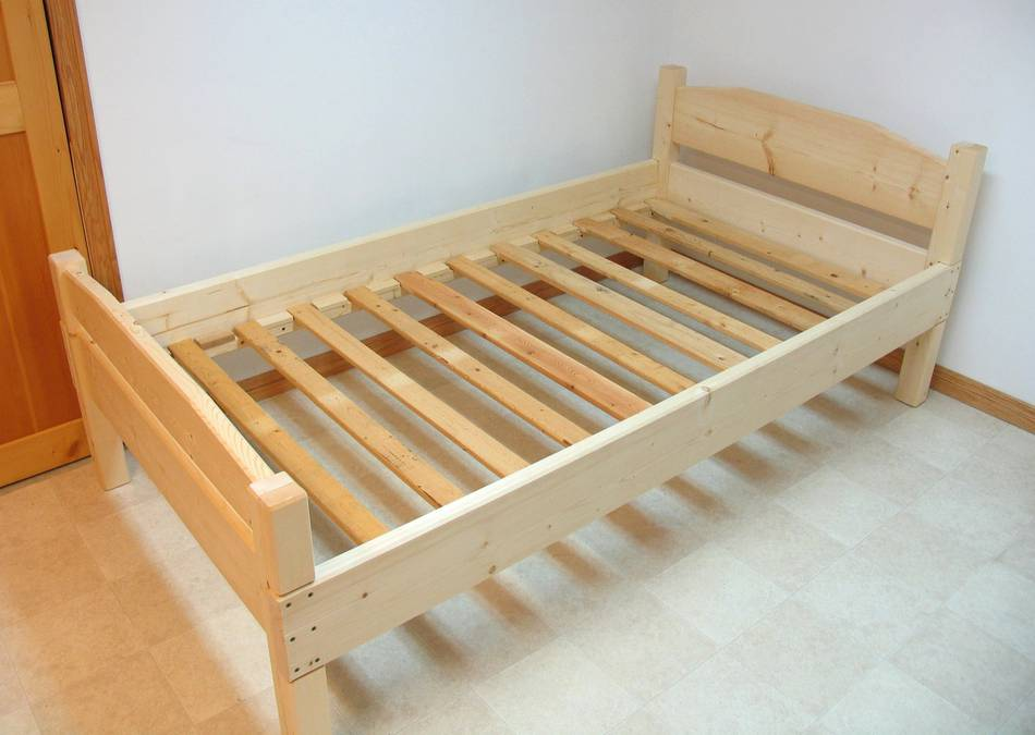 Image of: Build twin bed frame wood