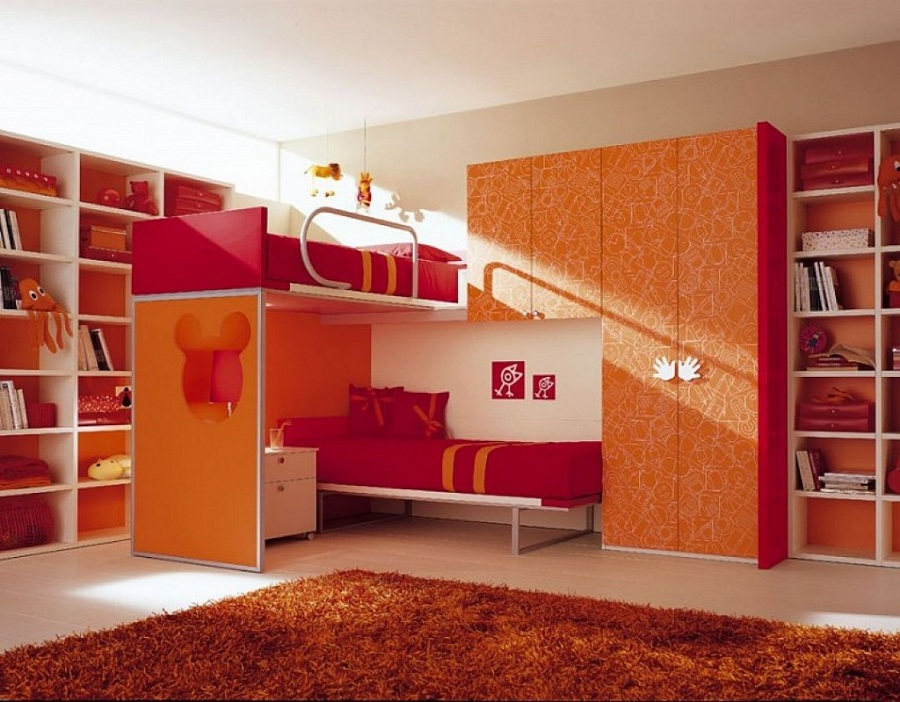 Image of: Double Red Loft Beds for Teens
