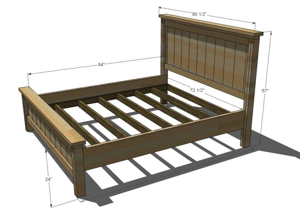Image of: Full King Size Bed Frame Dimensions in Inches