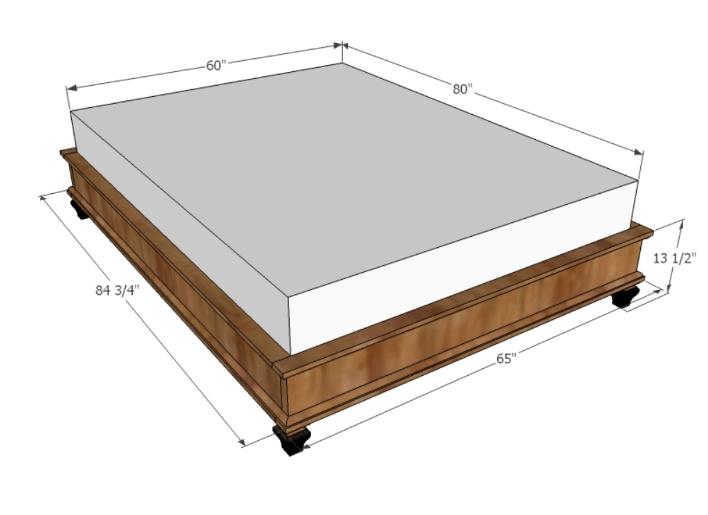 Image of: King Size Bed Frame Dimensions and Standards