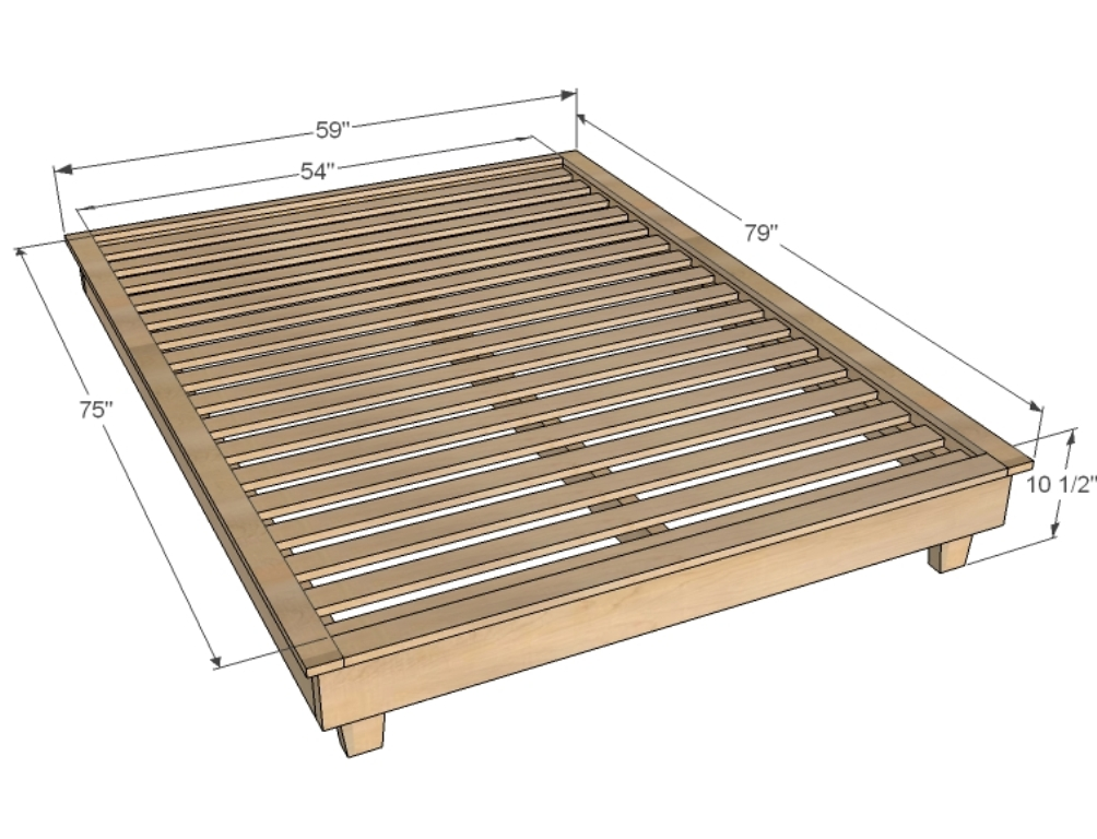 Image of: King Size Bed Frame Dimensions for a Dorm Bed