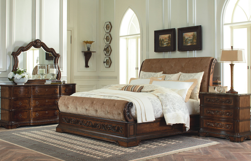 Image of: King Sleigh Bed Design