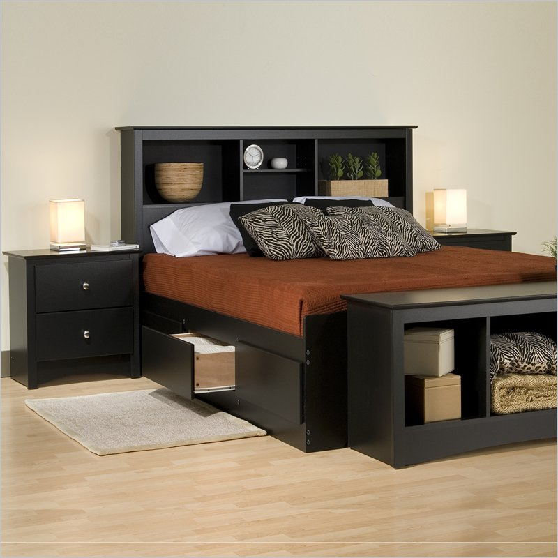 Modern king platform storage bed