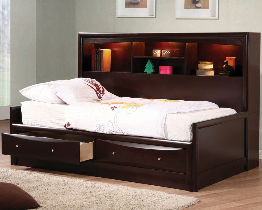 Image of: Twin Bed with Headboard and Drawers