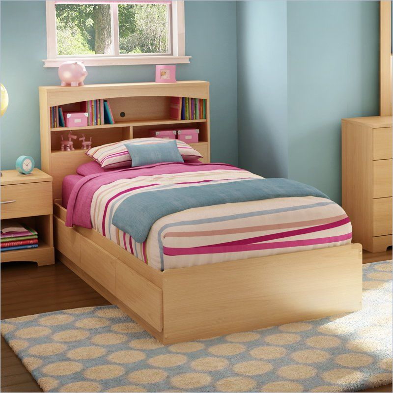 Image of: Twin bed frame wood with storage