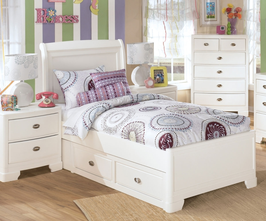 Image of: White Twin Bed with Storage Drawers
