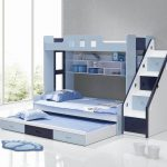 Blue And White Bunk Beds With Stairs