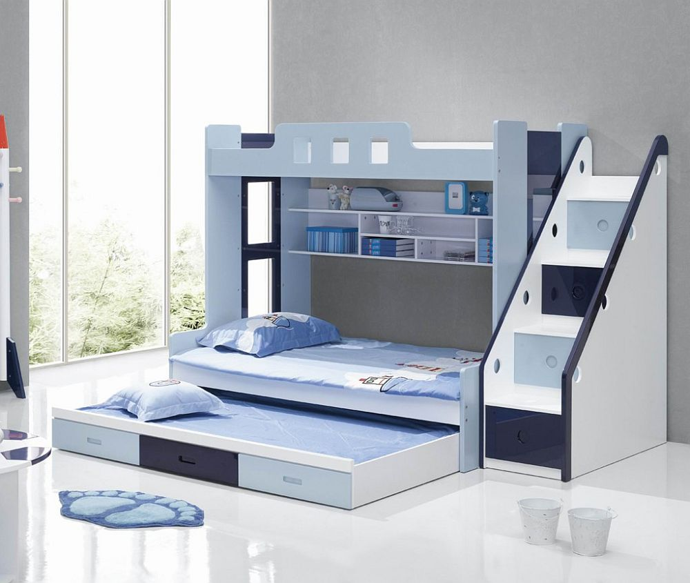 Image of: Blue And White Bunk Beds With Stairs