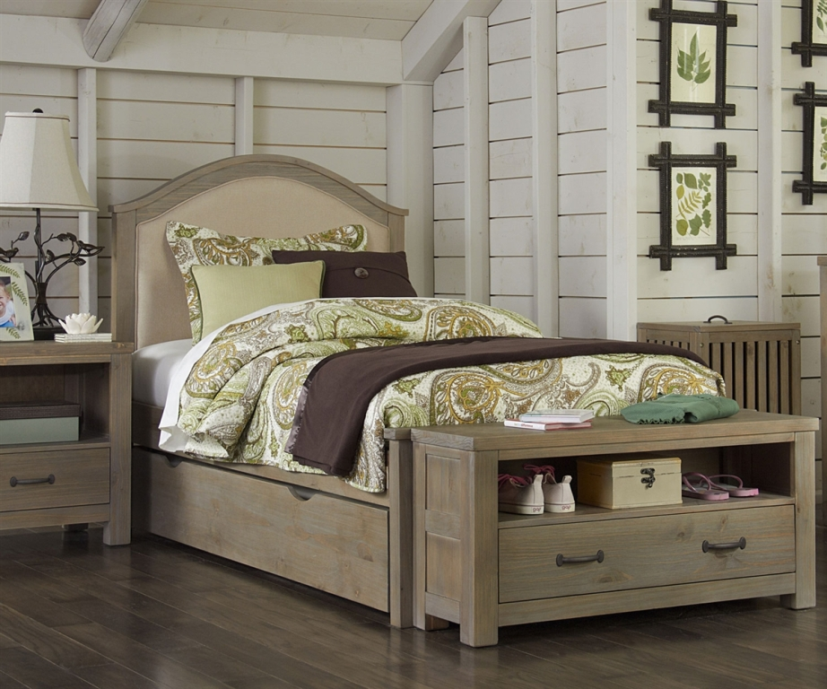 Blue Upholstered Twin Bed
