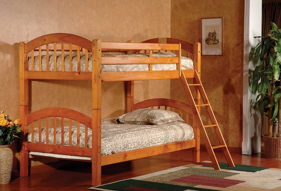 Image of: Brown Wooden Pottery Barn Loft Bed