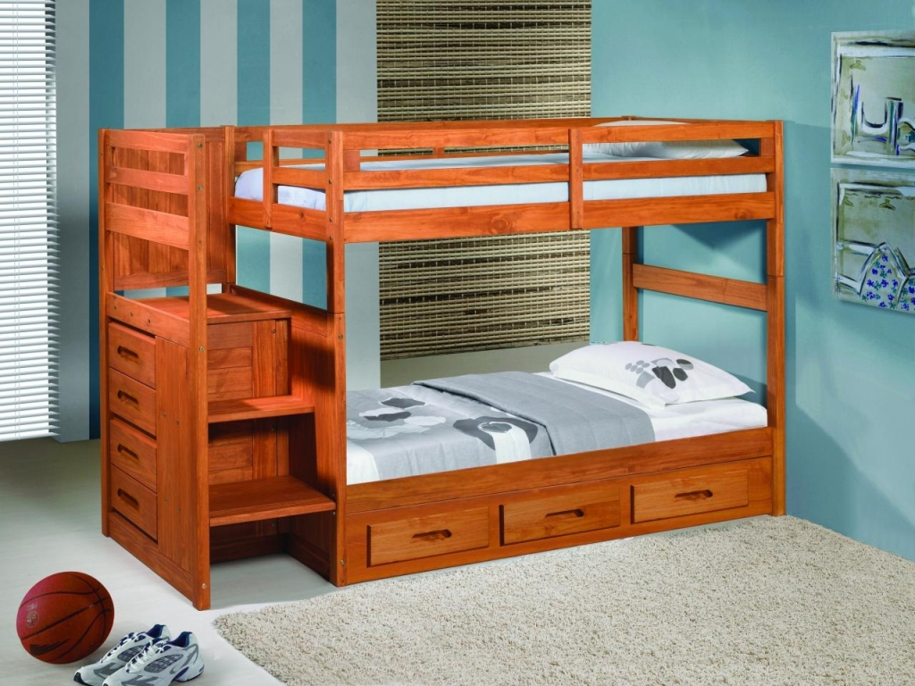 Image of: Bunk Beds for Kid with Stairs Twin Over Full