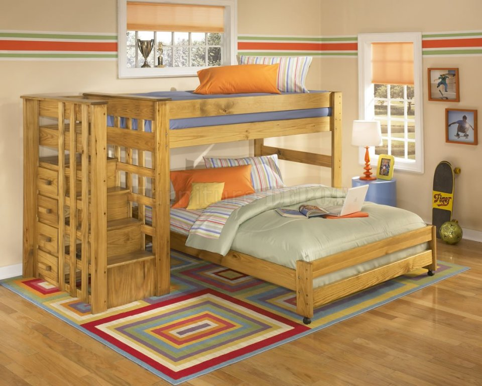 Image of: Bunk Beds for Kids with Stairs and Earthquake