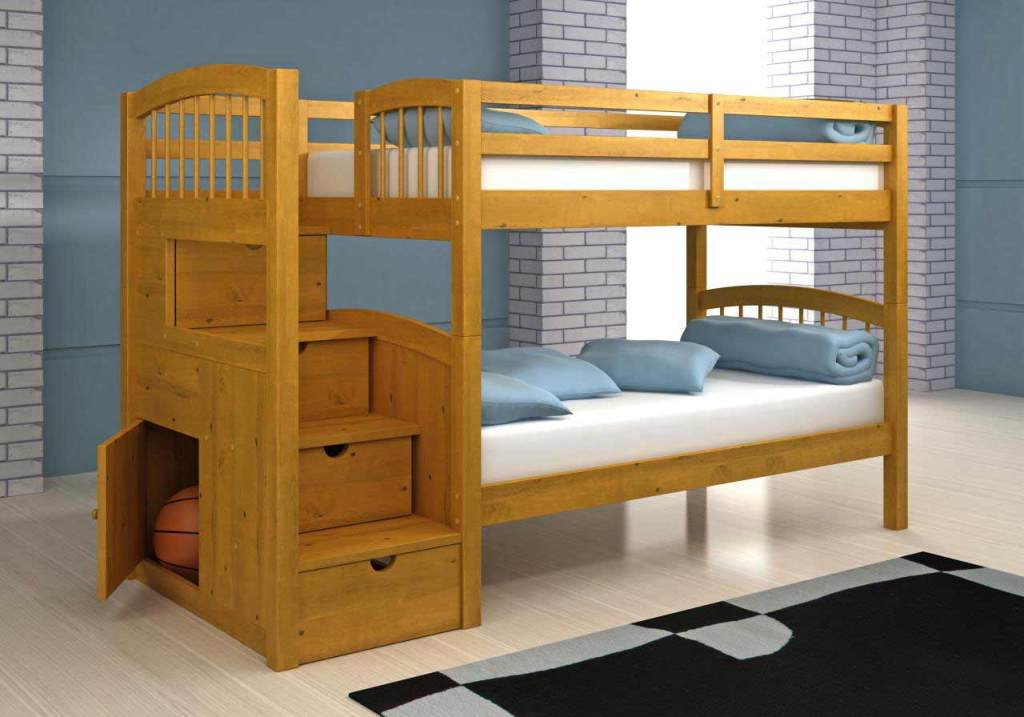 Image of: Bunk Beds for Kids with Stairs with Mattresses Included