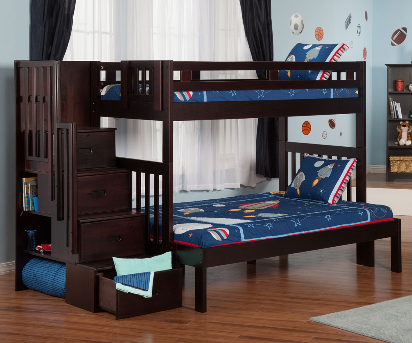 Dark Bunk Beds With Storage