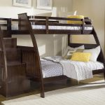 Dark Wood Twin Bunk Beds with Stairs