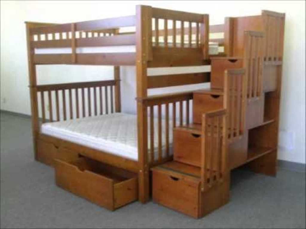 Image of: Full Over Full Bunk Beds with Drawers