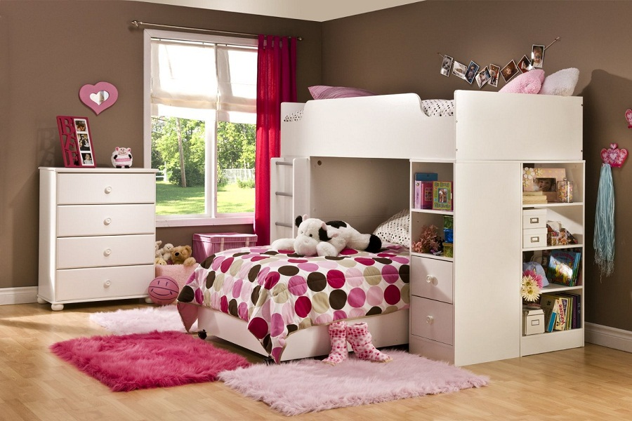 Image of: Girl Twin Over Full Loft Bed