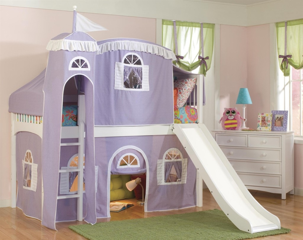 Image of: Loft Beds for Girls with Slide