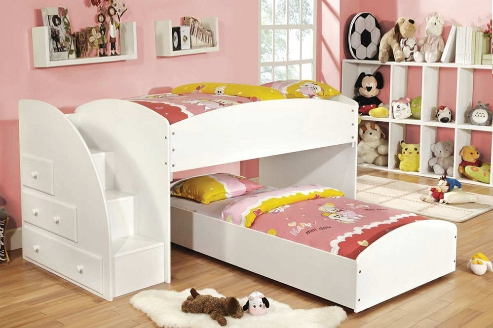 Image of: Low Height Bunk Beds White