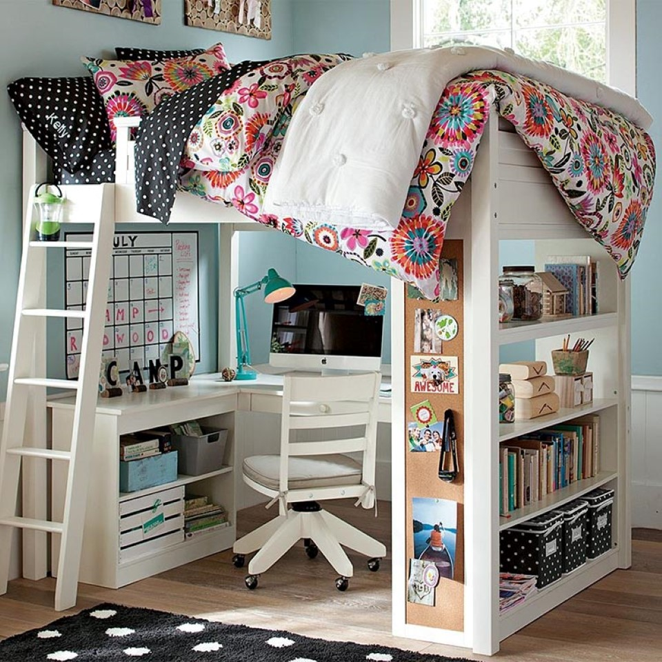 Image of: Pretty Kids Loft Beds With Desk
