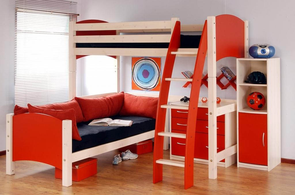 Image of: Red Boys Loft Beds