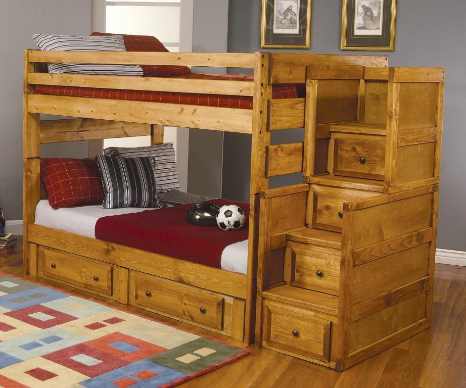 Image of: Rustic Storage Bunk Beds