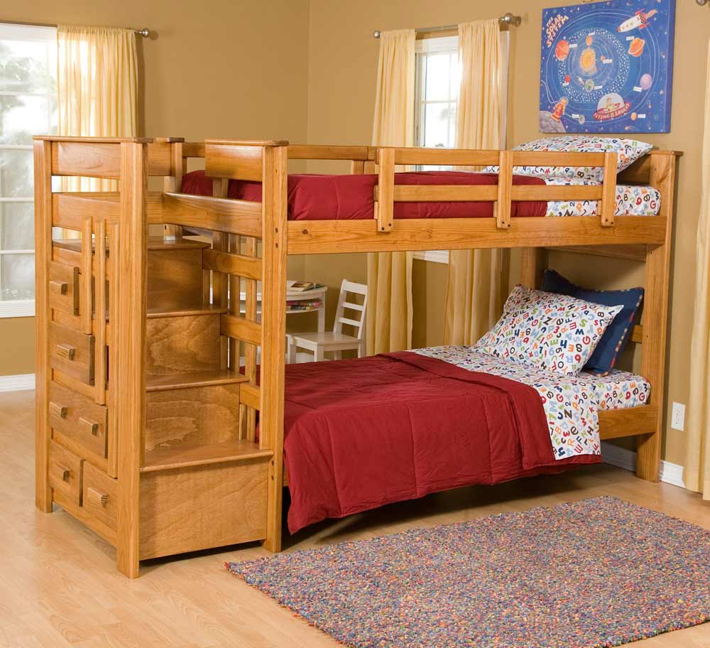 Image of: Stair and Storage Bunk Beds