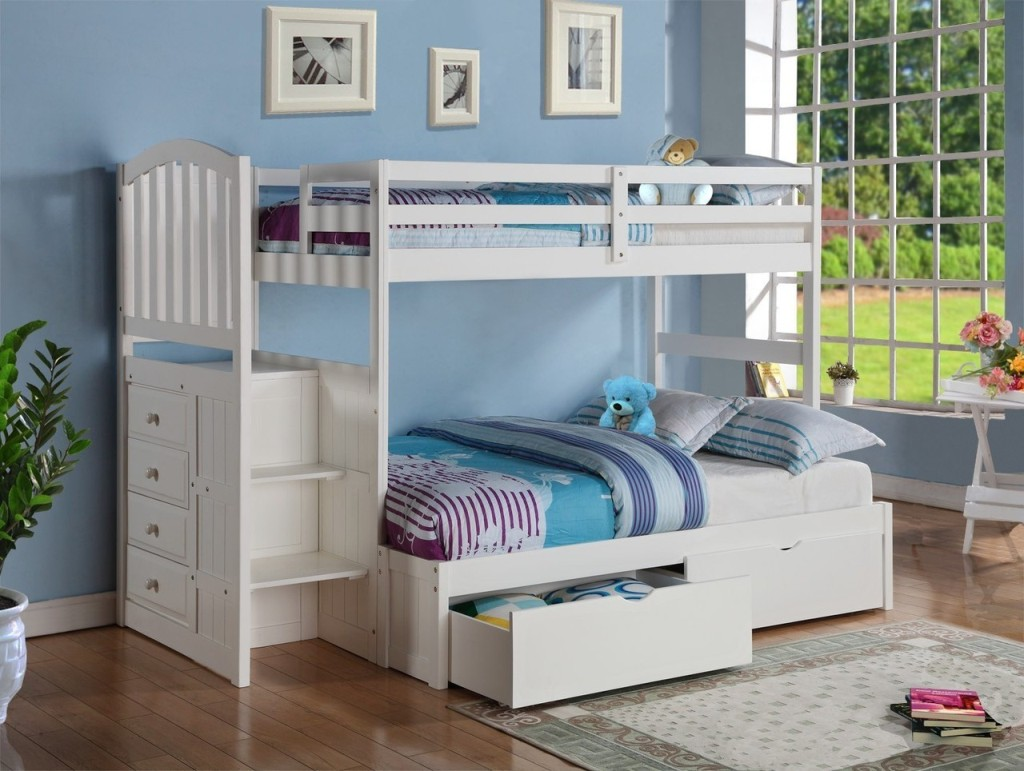 Image of: Twin Bunk Beds with Stairs Design