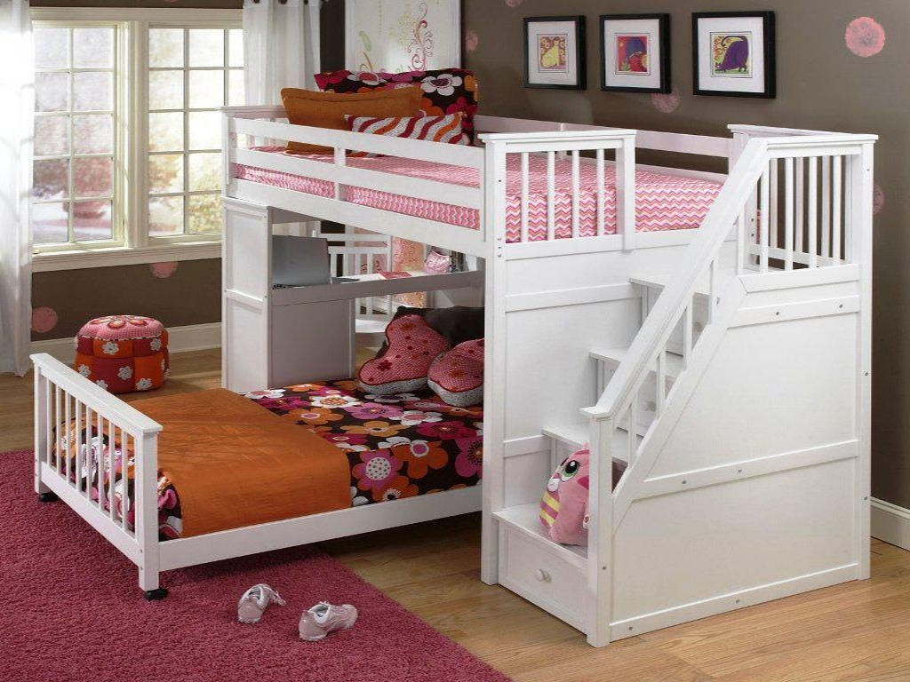 Image of: Twin Bunk Beds with Stairs for Girls
