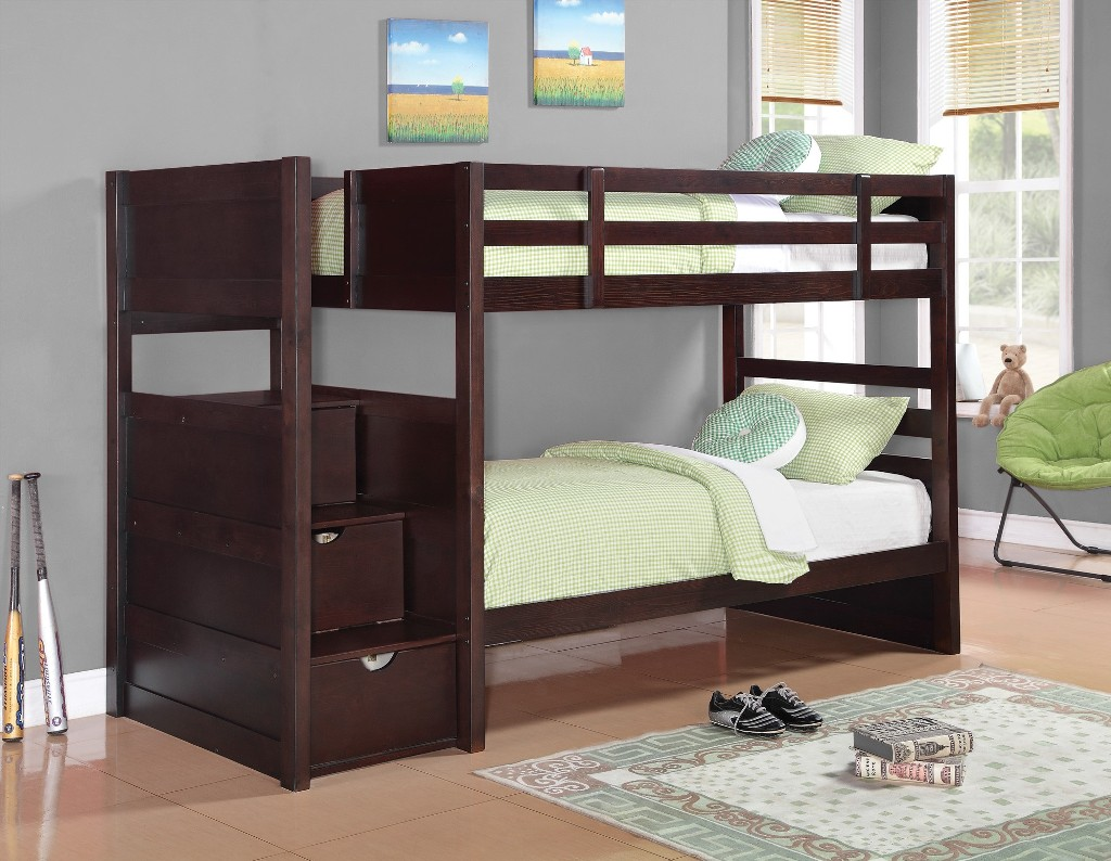 Image of: Twin Bunk Beds with Stairs for Kids
