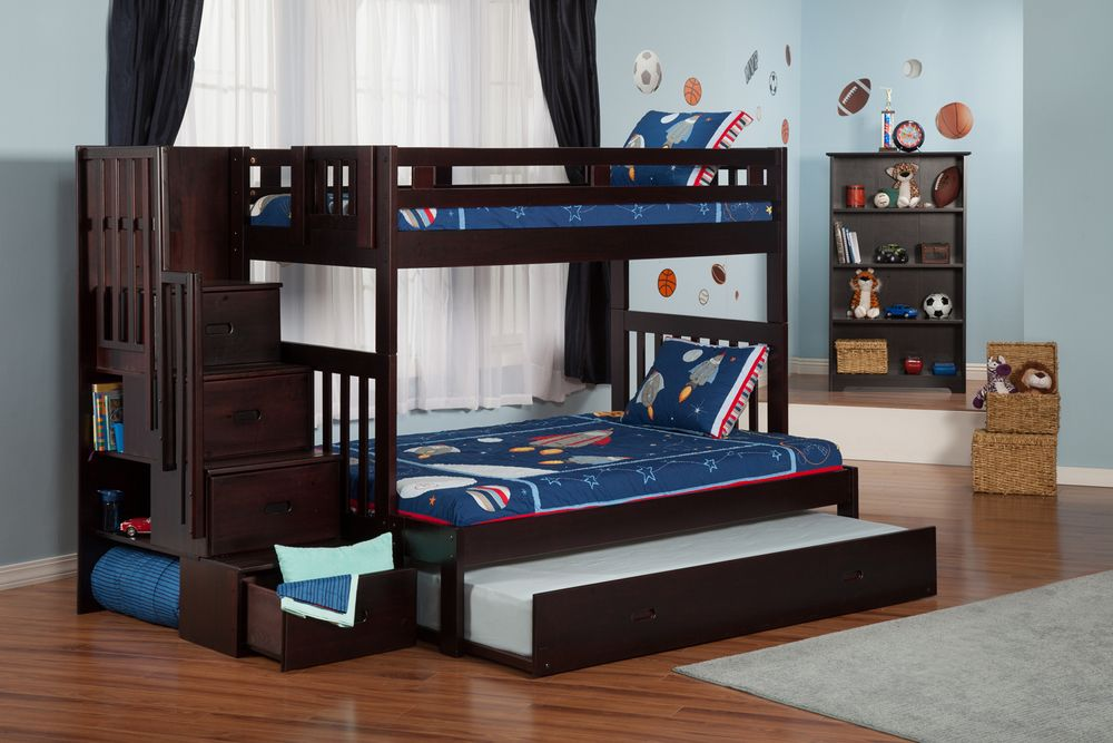 Image of: Twin Over Full Bunk Bed Black Wood