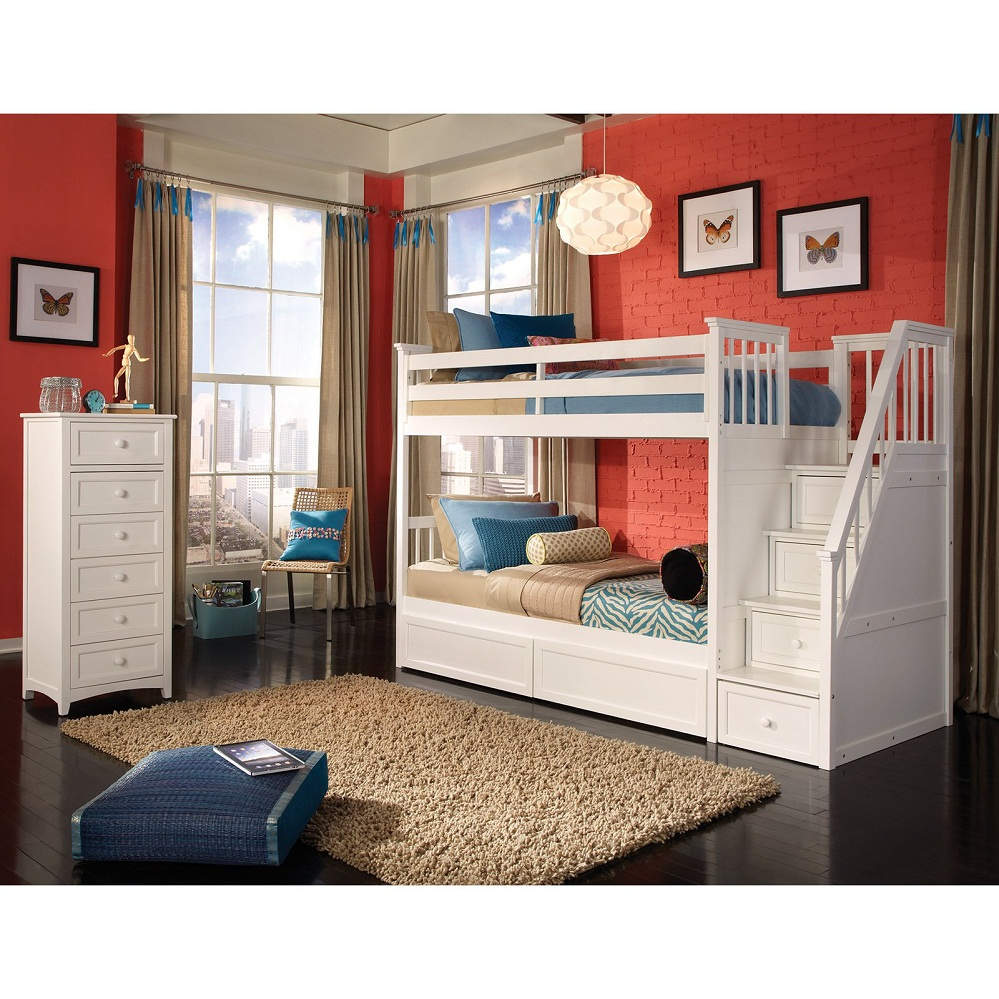 Image of: White Loft Bunk Bed