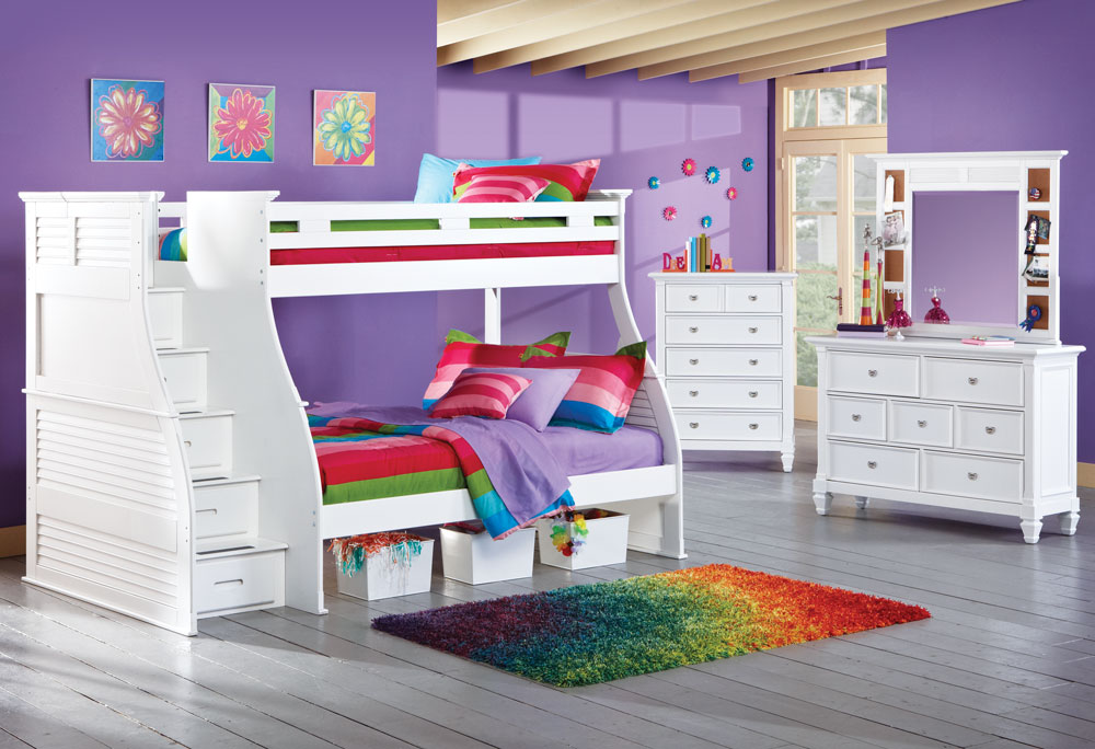 Image of: White Twin Over Full Loft Bed