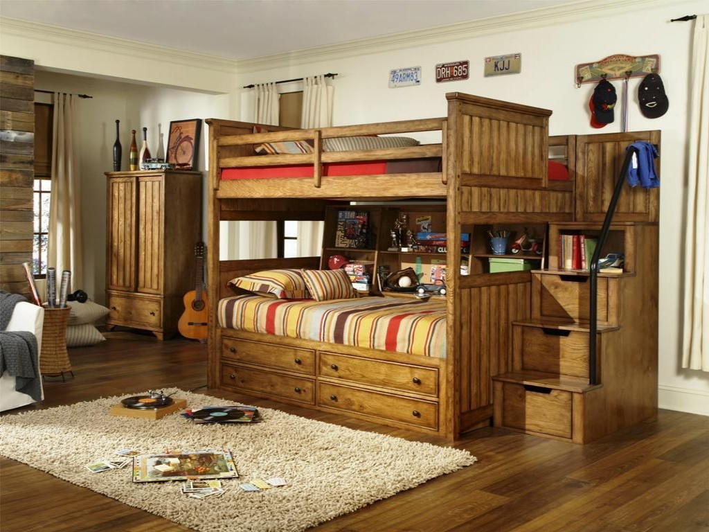 Wooden Twin Bunk Beds with Stairs