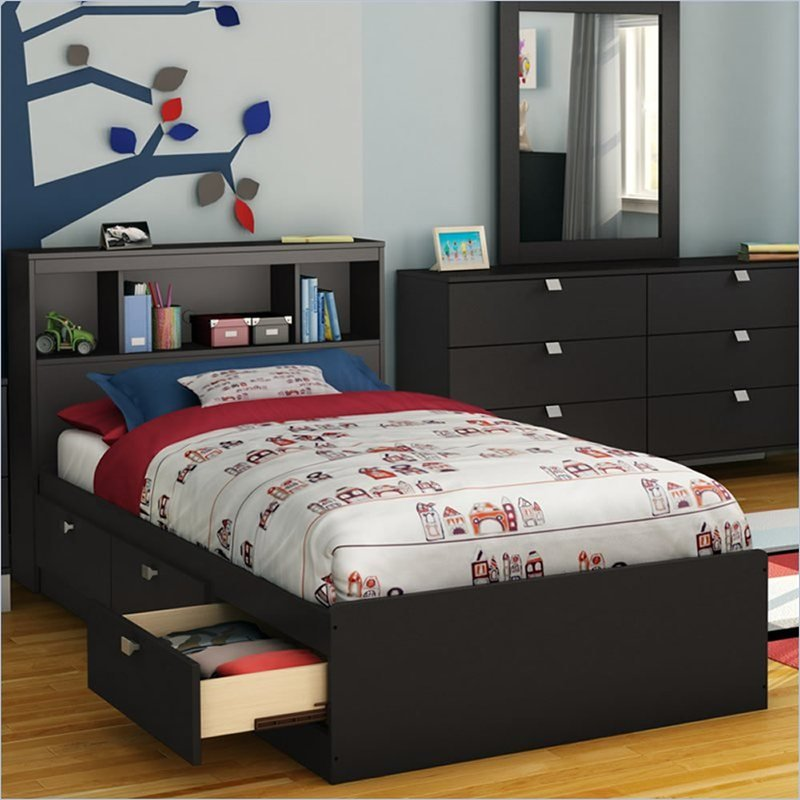 Image of: Black Twin Bed Frames With Storage