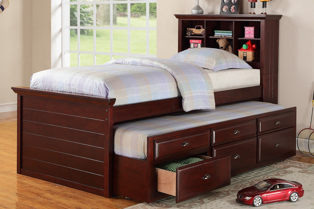 Image of: Brown Twin Bed With Drawers Underneath
