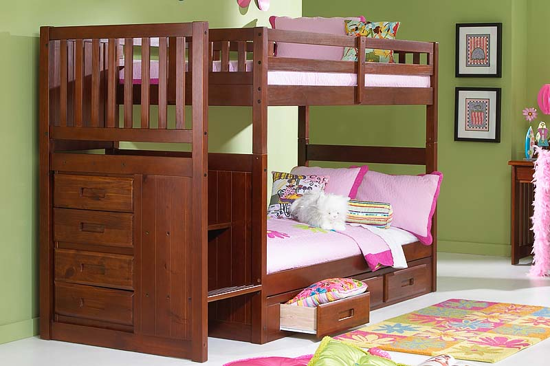 Image of: Girls Bunk Bed Stairs