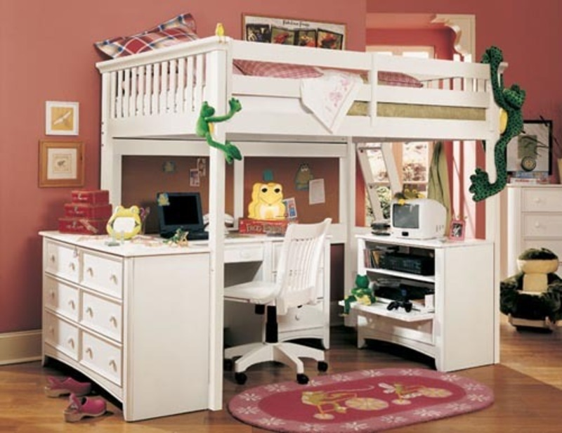 Image of: Girls Chelsea Vanity Loft Bed